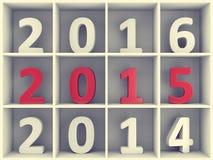 Konzept des neuen Jahres Zahlen im Buchregal Stockbilder