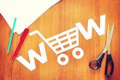 Konzept des Onlinehandels Abstraktes Bild mit Papier-scrapbookin Lizenzfreie Stockfotografie
