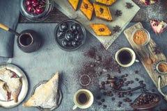 Konzept des orientalischen Nachtischs horizontal stockbild