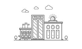 Konzept des Polizeidienststellegebäudes in der flachen Linie Design Lizenzfreie Stockfotos
