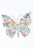 Konzept des Schmetterlinges auf dem bunten Papier gemacht mit Rüschen techni Lizenzfreies Stockfoto