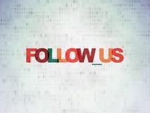 Konzept des Sozialen Netzes: Folgen Sie uns auf Digital-Daten-Papierhintergrund Stockfotografie
