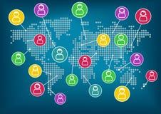 Konzept des Sozialnetzes Globale Kommunikation und Zusammenarbeit auf der ganzen Welt Es kann für Leistung der Planungsarbeit not vektor abbildung