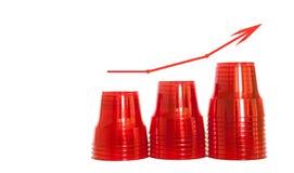 Konzept des steigenden Plastikverbrauchs Rote Plastikschalen, lokalisiert lizenzfreie stockfotografie