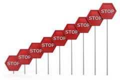 Konzept des Stoppschildes 3d Stockbild
