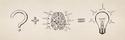 Konzept des Suchens nach Lösung. Skizze. Stockbild