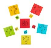 Konzept des Suchens nach Lösungen. Blätter des farbigen Papiers. lizenzfreie stockbilder