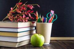 Konzept des Tages des Lehrers Gegenstände auf einem Tafelhintergrund Bücher, grüner Apfel, Plakette: Der Tag, die Bleistifte und  Lizenzfreie Stockbilder
