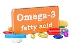 Konzept des Vitamins Omega-3, Wiedergabe 3D Stockbilder