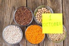Konzept des Weltvegetarischen Tages, am 1. Oktober Lizenzfreie Stockfotografie