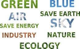 Konzept des Wortes des Ökologiebewußtseins Lizenzfreie Stockfotografie