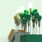 Konzept des Zeichnungsideen-Bleistifts und der Glühlampe außerhalb des Kastens Stockbild