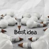 Konzept des Zeichnungsideen-Bleistifts und der Glühlampe kreativ Stockbilder
