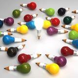 Konzept des Zeichnungsideen-Bleistifts und der Glühlampe kreativ und leadersh stock abbildung