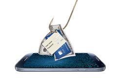 Konzept des Zerhackens oder des Phishings mit Schadsoftwareprogramm Lizenzfreie Stockfotografie