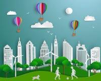 Konzept eco freundlicher Abwehr die Welt und die Umwelt, Papierkunstszenenhintergrund lizenzfreie abbildung