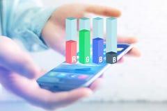 Konzept einer RGB-Tintenstrahlniveauschnittstelle über einem Gerät - Computer Lizenzfreie Stockbilder