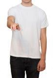 Konzept eines jungen Mannes in einem weißen T-Shirt lizenzfreie stockfotos