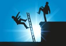 Konzept eines Lehnsessels für zwei mit einem Mann, der seinen Konkurrenten in die Lücke drückt stock abbildung