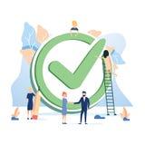 Konzept erledigte Arbeit, Checkliste für Webseite, Fahne, Darstellungs- und Social Media-Dokumente oder Karten, Poster vektor abbildung