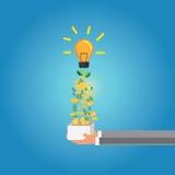 Konzept für das Crowdfunding, Hand mit Kasten Lizenzfreies Stockbild