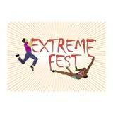 Konzept für extremes kletterndes Festival, mit dem Bild von Kletterern lizenzfreie abbildung