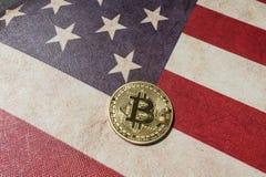 Konzept für Investoren im cryptocurrency und in Blockchain-Technologie in den Vereinigten Staaten von Amerika Stockfotos