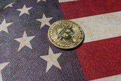 Konzept für Investoren im cryptocurrency und in Blockchain-Technologie in den Vereinigten Staaten von Amerika Lizenzfreie Stockfotografie