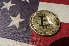 Konzept für Investoren im cryptocurrency und in Blockchain-Technologie in den Vereinigten Staaten von Amerika Lizenzfreie Stockfotos