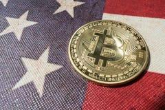 Konzept für Investoren im cryptocurrency und in Blockchain-Technologie in den Vereinigten Staaten von Amerika Stockbilder