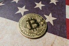 Konzept für Investoren im cryptocurrency und in Blockchain-Technologie in den Vereinigten Staaten von Amerika Lizenzfreies Stockfoto