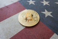 Konzept für Investoren im cryptocurrency und in Blockchain-Technologie in den Vereinigten Staaten von Amerika Stockbild