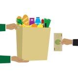 Konzept für Lebensmittelgeschäftlieferung Lizenzfreie Stockbilder