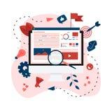 Konzept f?r vermarktende Agentur Digital, flache Vektorillustration der digitalen Medienkampagne stock abbildung