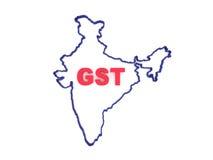Konzept G S T mit indischer Karte Lizenzfreie Stockfotos
