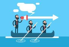 Konzept Geschäfts-Man Groups Team In Boat Teamwork Leadership Stockbild
