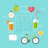 Konzept gesunden Lebensstil infographics Ikonen für Web Stockfotografie