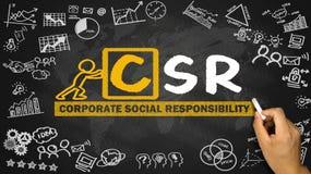 Konzept-Handzeichnung der sozialen Verantwortung von Unternehmen auf blackboa Lizenzfreies Stockfoto