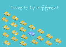 Konzept Herausforderung, zum unterschiedlich zu sein Grafikauto Ändern Sie nicht andere, sich ändern Vektor, Mut, Glaube, Ausdaue stock abbildung