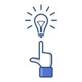 Konzept-Idee. Zeigefinger, der auf Glühlampe zeigt Stockfotografie