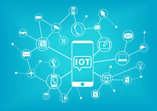 Konzept IOT (Internet von Sachen) Handy angeschlossen an das Internet stock abbildung