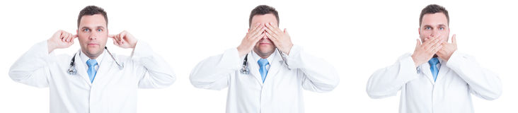Konzept männlichen Doktors mit blinder tauber und stummer Geste Stockbild
