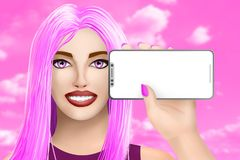 Konzept mit beweglichem Handymodell Gezogenes schönes Mädchen auf buntem Hintergrund Abbildung lizenzfreie abbildung