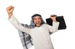Konzept mit dem arabischen Mann lokalisiert Lizenzfreies Stockfoto