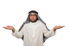 Konzept mit dem arabischen Mann lokalisiert Stockfotografie