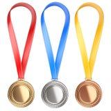 Konzept mit drei gewinnendes Plätzen Medaillen mit Band Stockbilder