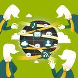 Konzept mit Ikonen der globalen Kommunikation Stockfotografie