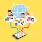 Konzept mit Ikonen der globalen Kommunikation Lizenzfreies Stockfoto
