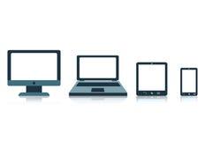 Konzept mit Schirmtabletten-Laptoptelefon der elektronischen Geräte Stockfoto