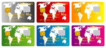 Konzept mit sechs Kreditkarten Lizenzfreie Stockfotografie